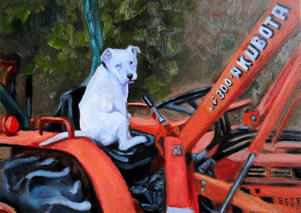 """""""Pancho On The Tractor"""" original fine art by Cietha Wilson"""