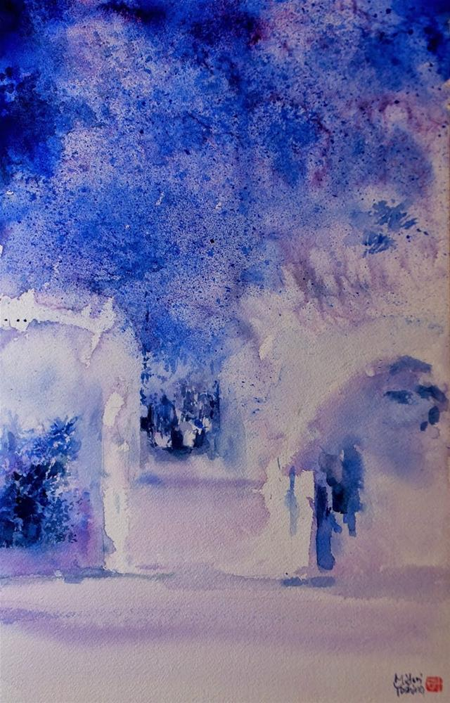 """A father and a son in a path"" original fine art by Midori Yoshino"