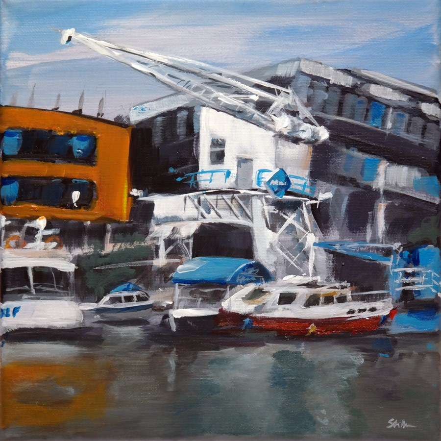 """1096 Marina of List on a rainy Afternoon"" original fine art by Dietmar Stiller"