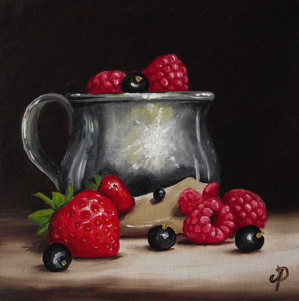"""""""Silver cup with Summer fruits"""" original fine art by Jane Palmer"""