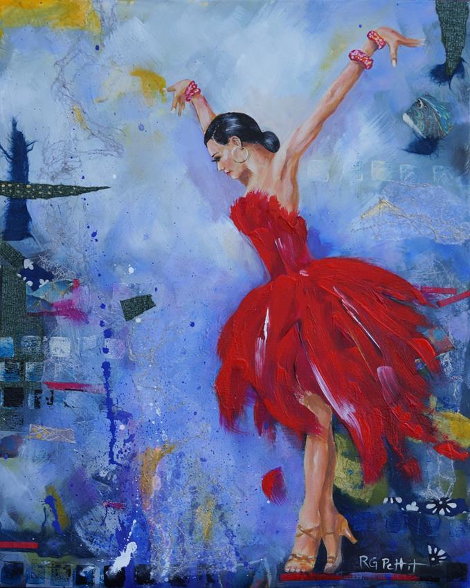 """""""Latin Dancer in Red"""" original fine art by Rhea  Groepper Pettit"""