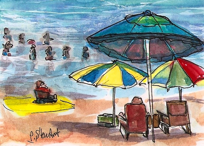 """ACEO Day at the Beach Umbrellas Swimming Ocean Seascape Penny StewArt"" original fine art by Penny Lee StewArt"