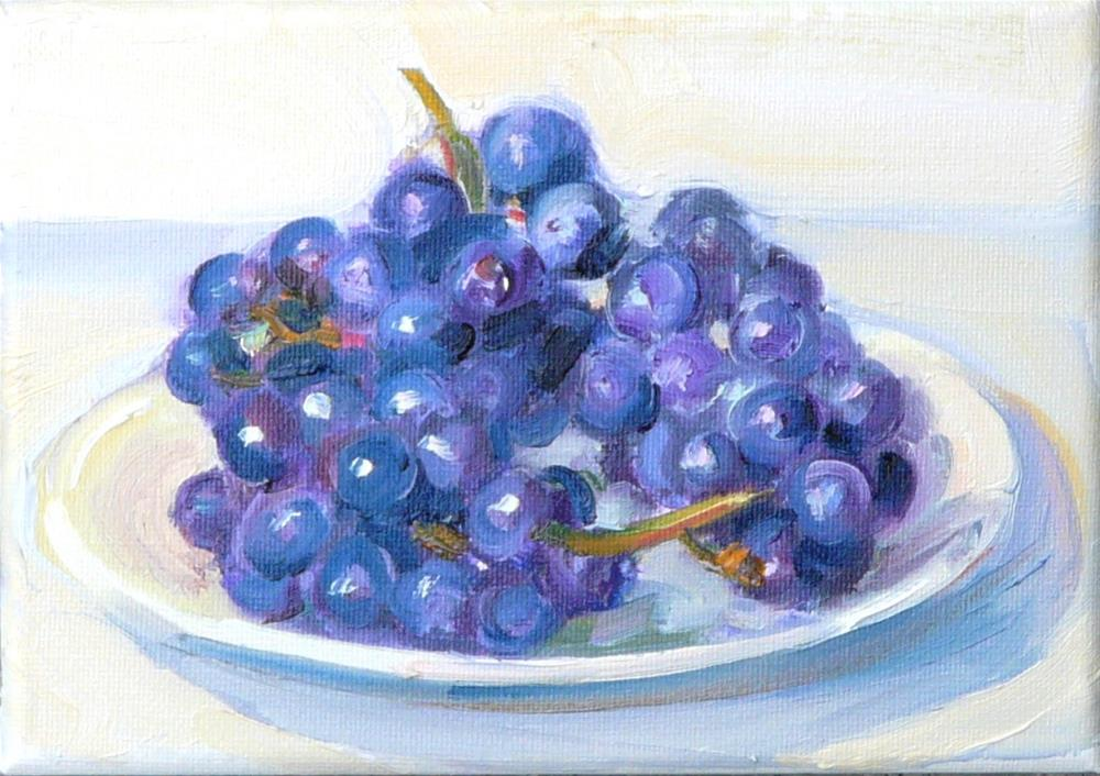 """Fresh off the Vine,still life,oil on canvas,5x7,price$185"" original fine art by Joy Olney"