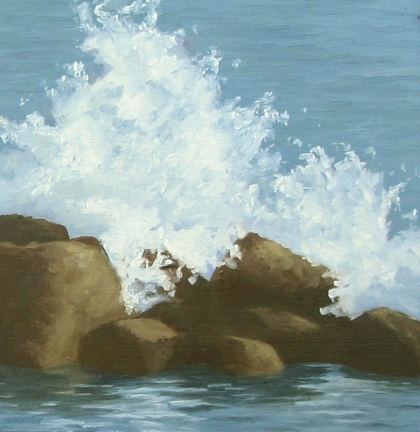 """Wave Breaker Rocks"" original fine art by Karen Johnston"
