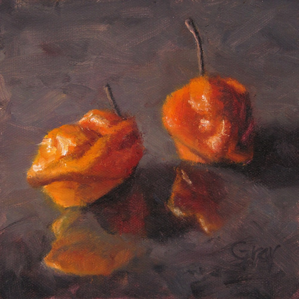"""Peppers in Black No. 5 - Habaneros"" original fine art by Naomi Gray"