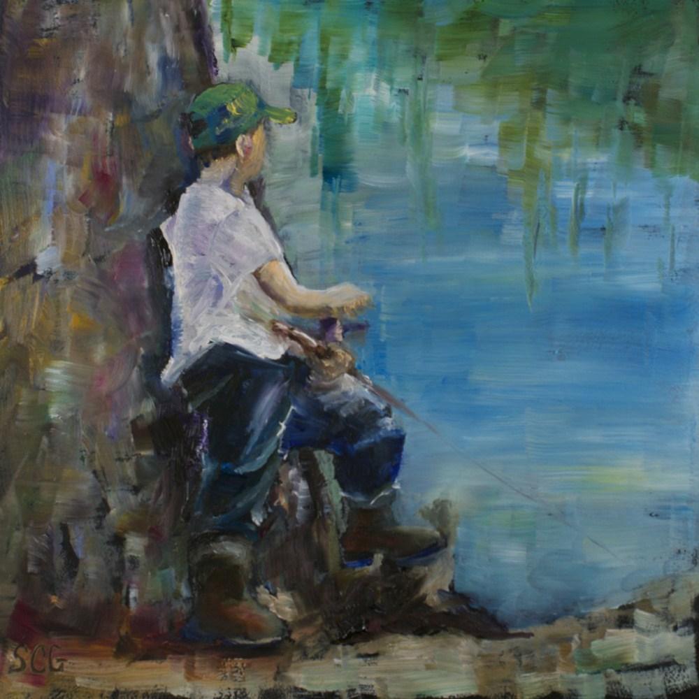 """Gone Fishing"" original fine art by Sue Churchgrant"