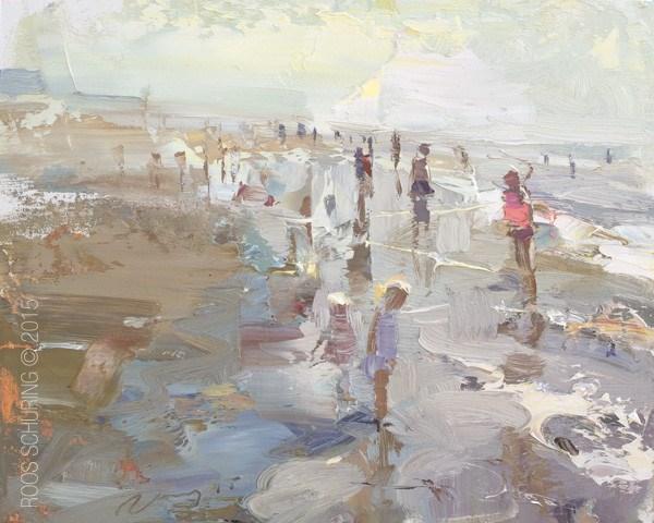 """Seascape Plein air Shoreline and Backlight"" original fine art by Roos Schuring"