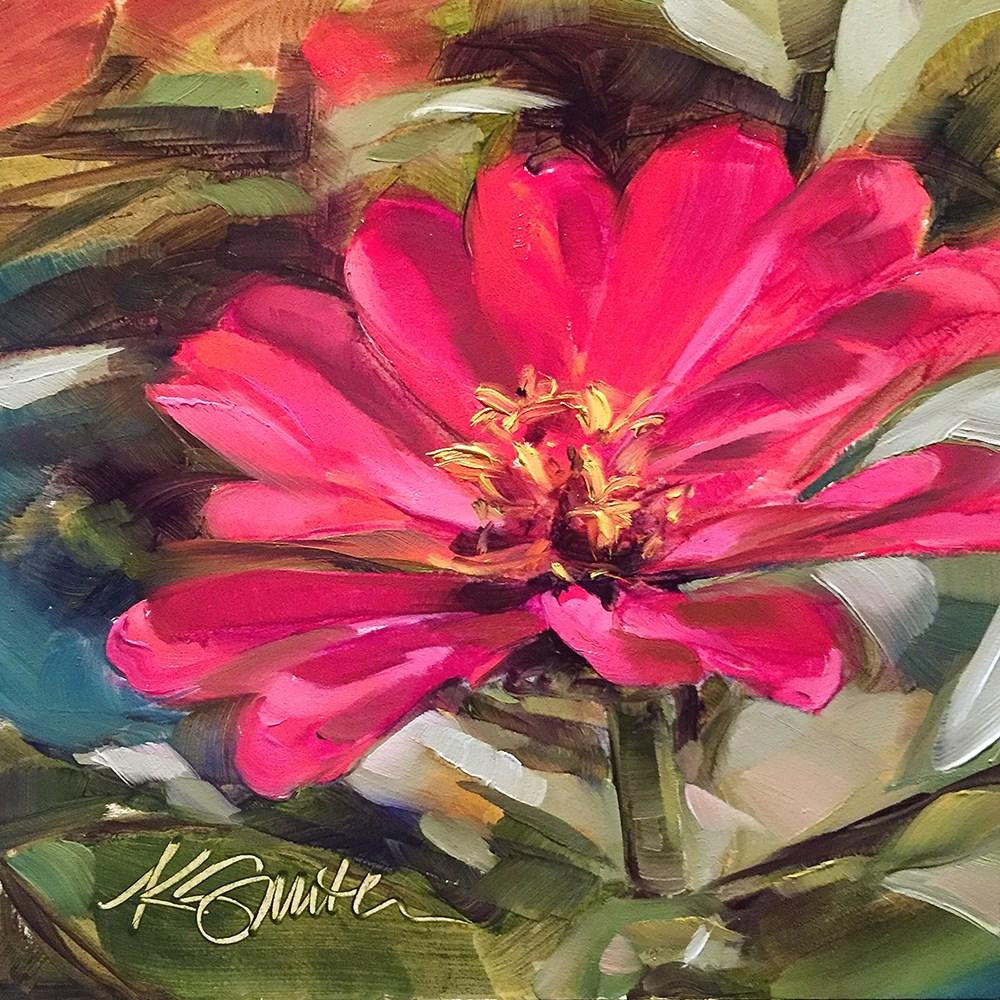 """""""zinnia"""" original fine art by Kim Smith"""