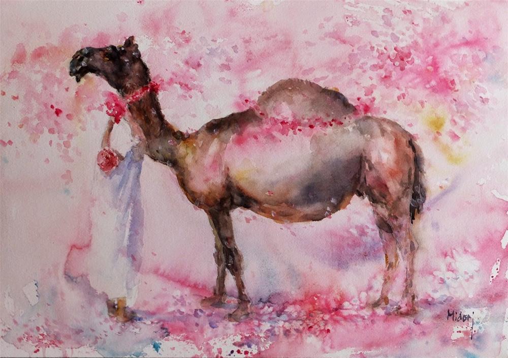 """""""With petals of bougainvillea"""" original fine art by Midori Yoshino"""