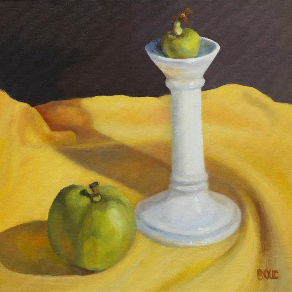 """Candlestick and Apples - Found on the Street #1"" original fine art by Jana Bouc"