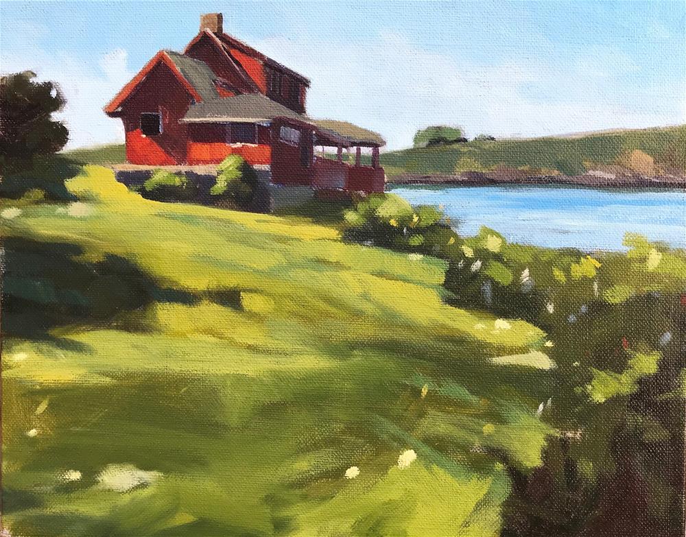 """""""Red House, Monhegan"""" original fine art by Sharon Schock"""