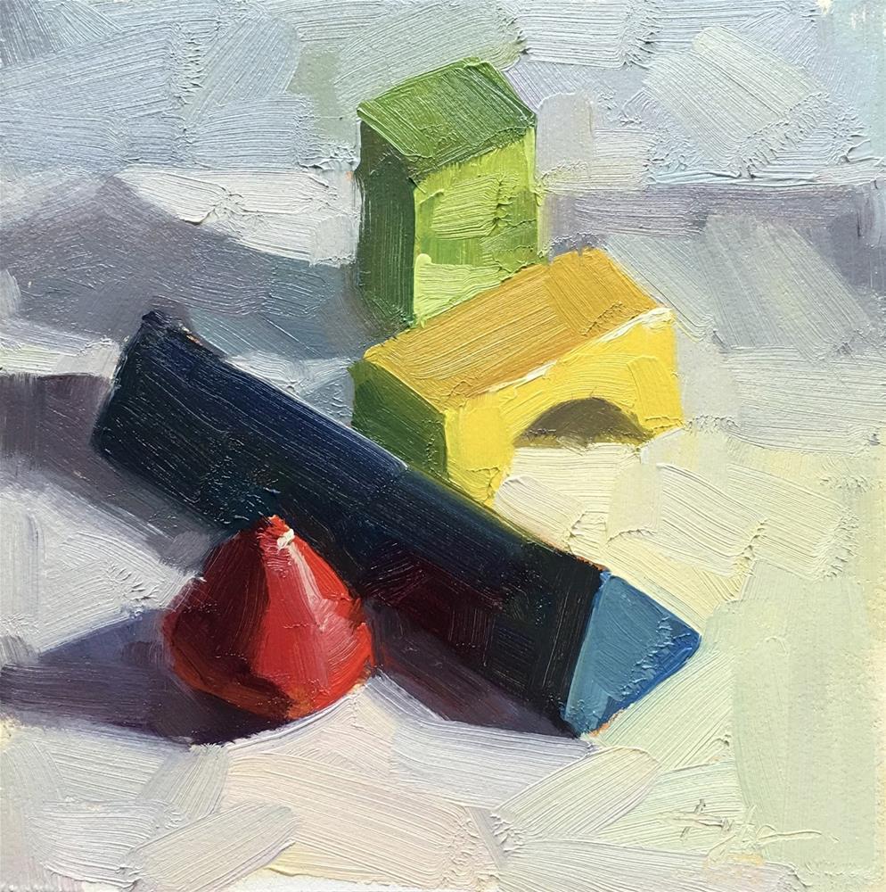 """Wooden Blocks #2"" original fine art by Katia Kyte"