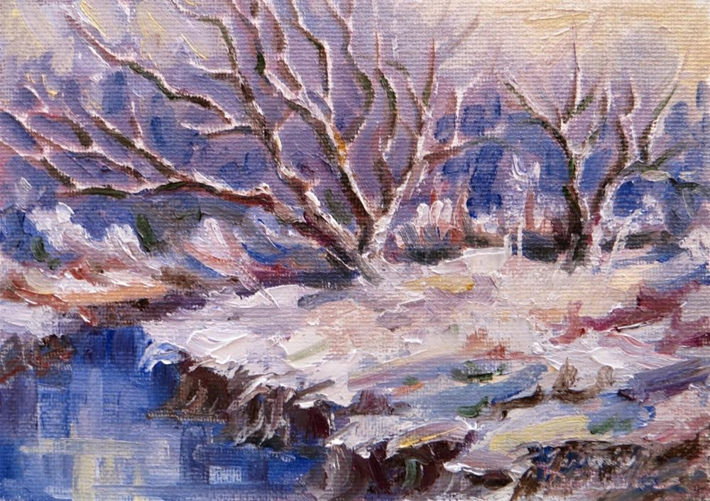 """""""Snow at Water's Edge"""" original fine art by Tammie Dickerson"""