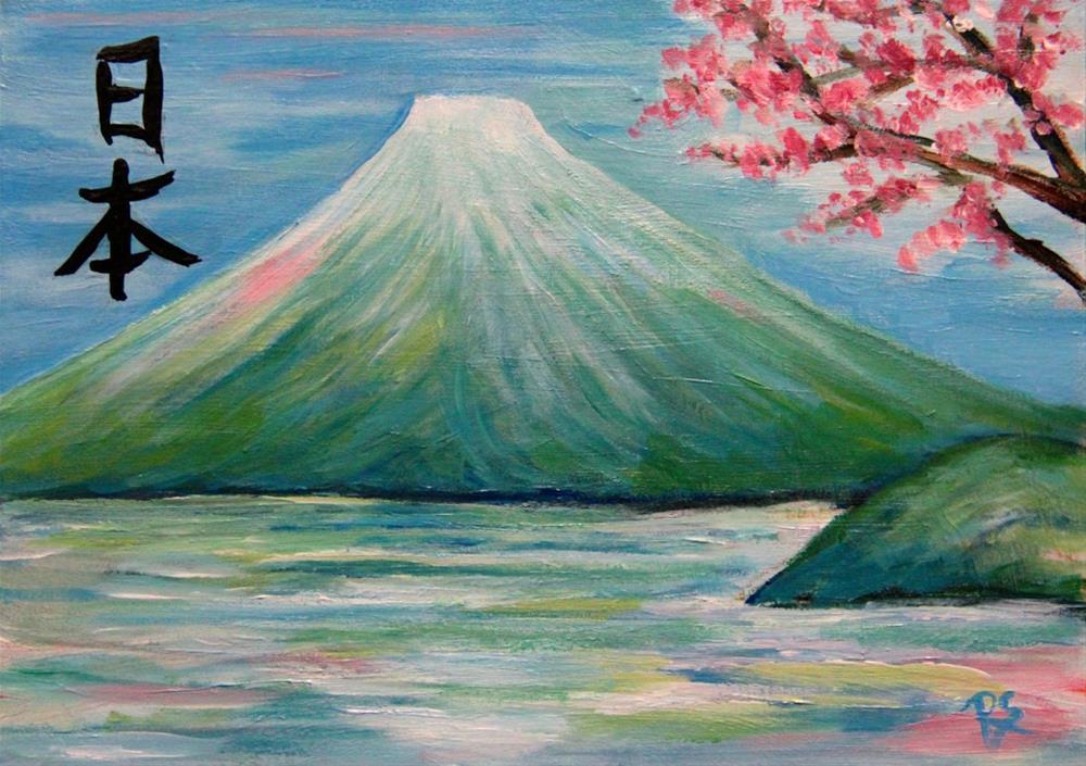 """""""Mount Fuji and Blossoms"""" original fine art by Roberta Schmidt"""