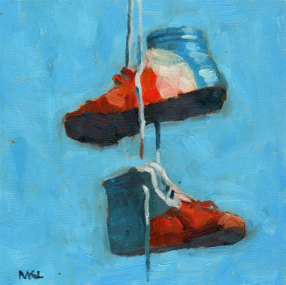 """Patriotic Shoes"" original fine art by Marlene Lee"