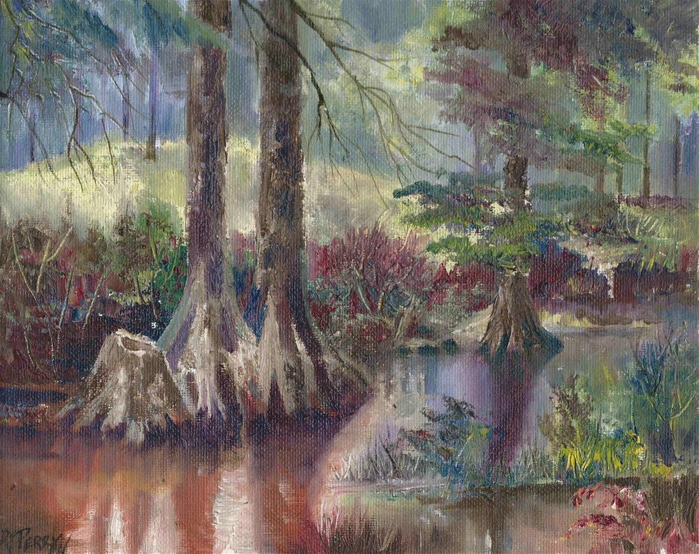"""""""Cypress Trees at Hindman Park"""" original fine art by R. S. Perry"""
