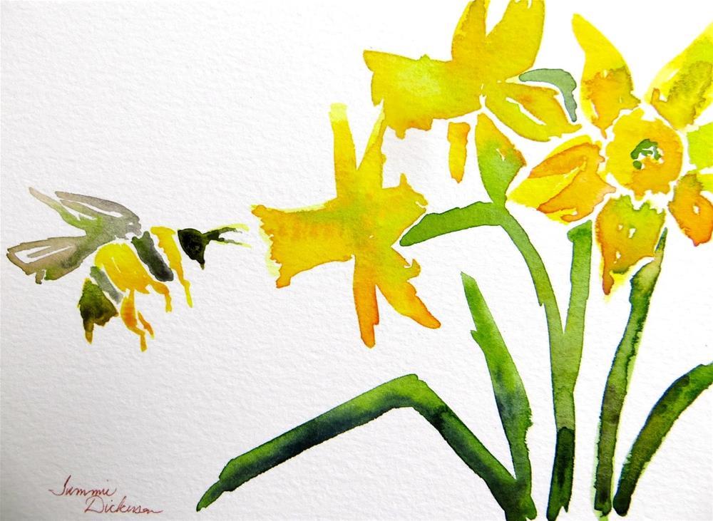 """Bee & Daffodils"" original fine art by Tammie Dickerson"