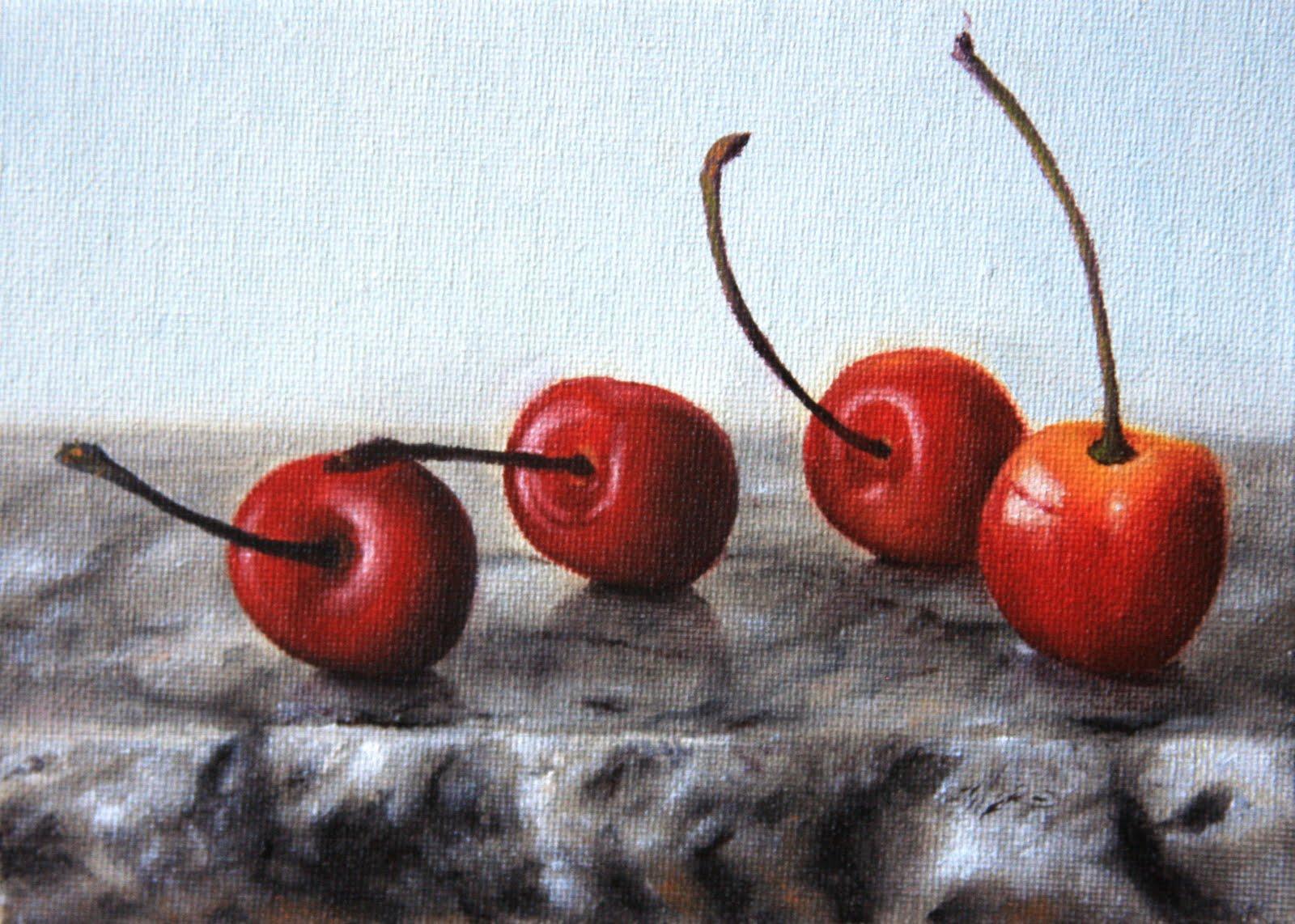 """Cherries & Marble"" original fine art by Jonathan Aller"