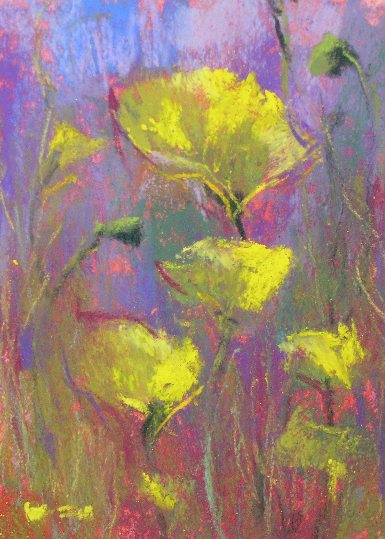 """Yellow Poppies"" original fine art by Karen Margulis"