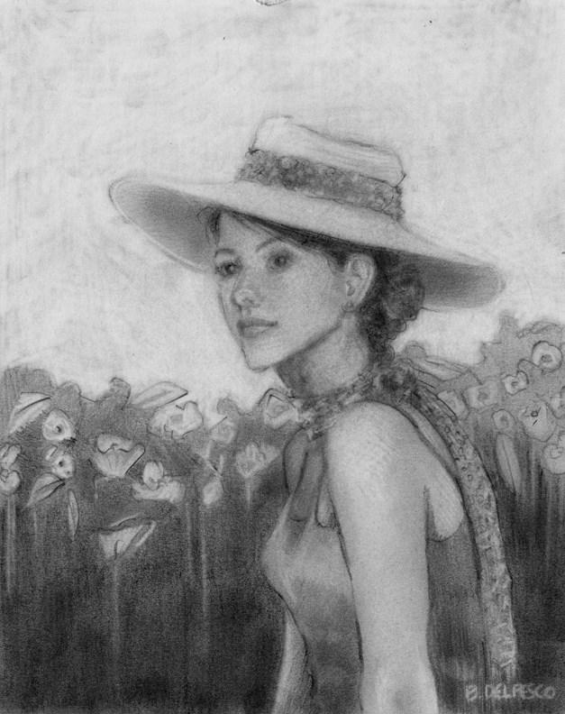 """Drawing: Meet me in the Garden (and a book on Gustav Klimt's Drawings & Watercolors)"" original fine art by Belinda Del Pesco"