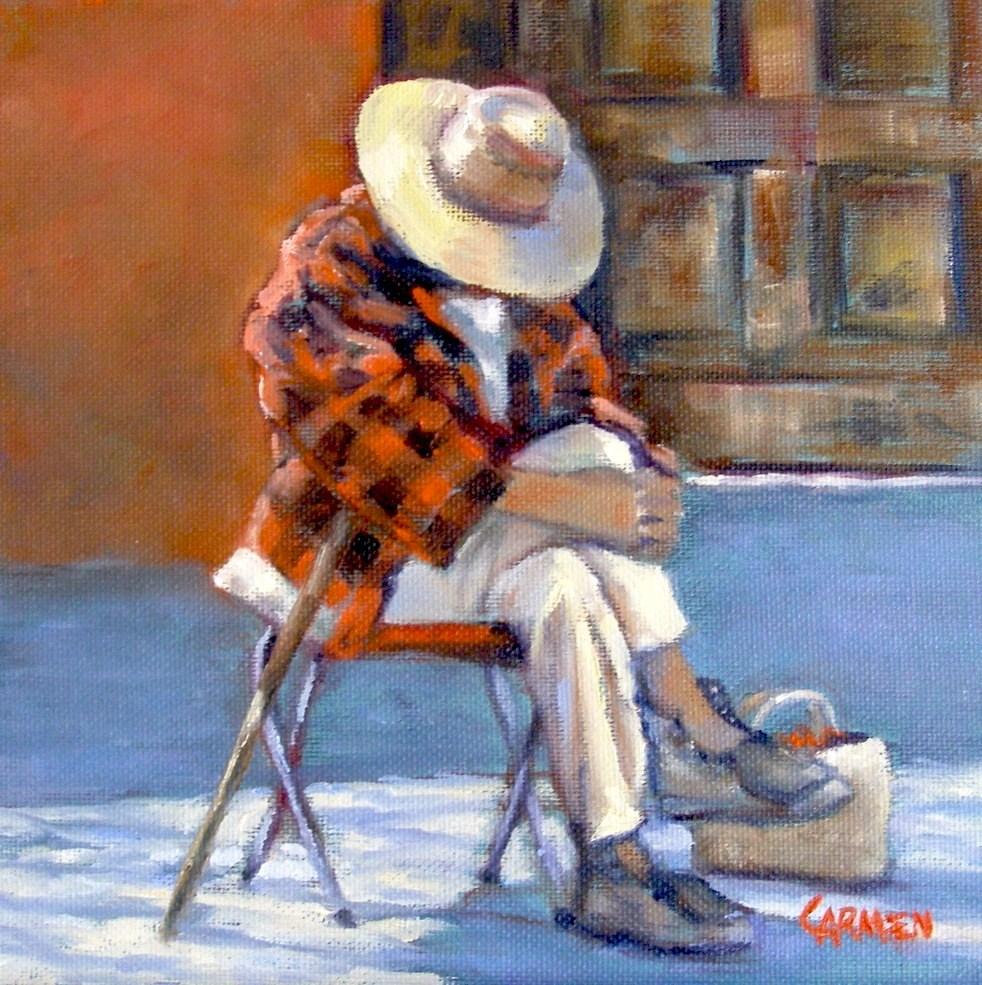 """""""Siesta, 8x8 Oil on Canvas"""" original fine art by Carmen Beecher"""