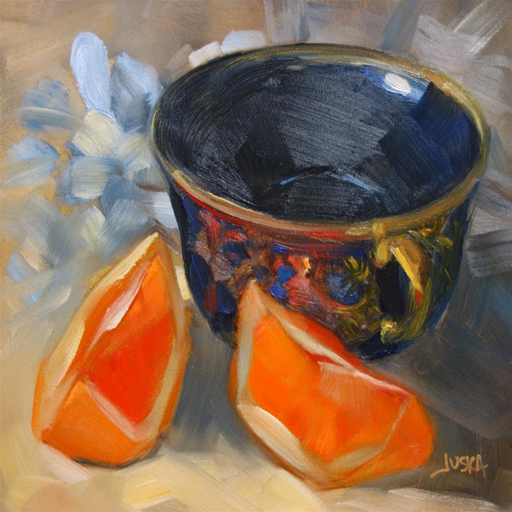 """Oranges & Cobalt Teacup"" original fine art by Elaine Juska Joseph"