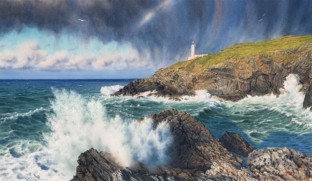 """March Showers at Trevose Head Light"" original fine art by Steven Thor Johanneson"