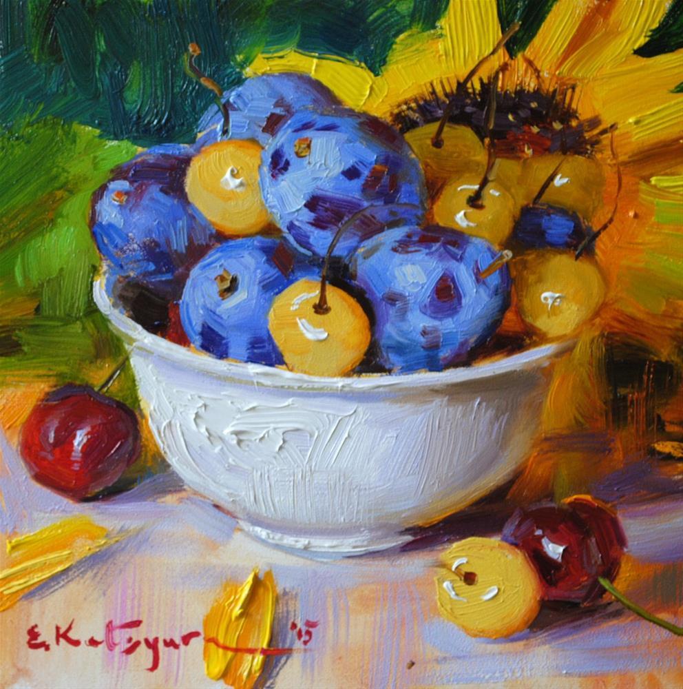 """Bowl of Plums and Cherries"" original fine art by Elena Katsyura"