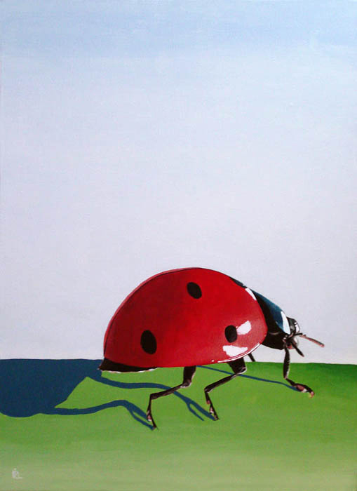 """The Long Journey - ladybug painting"" original fine art by Ria Hills"