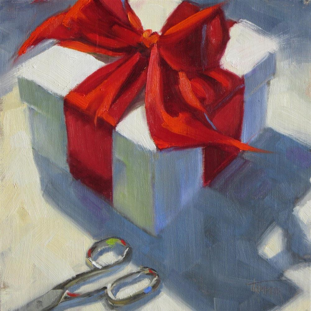 """What's in the Box?   8in x 8in  Oil painting"" original fine art by Claudia Hammer"