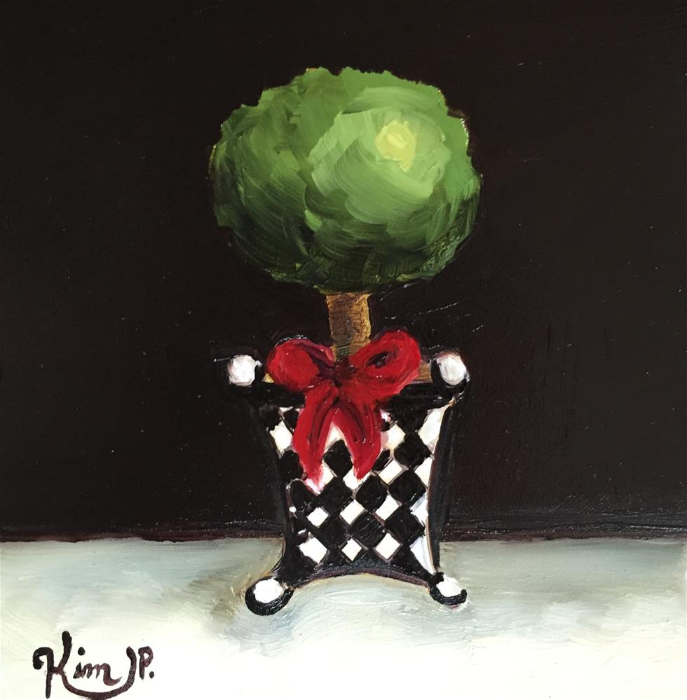 """""""Mini Topiary in Black and White with Red Bow"""" original fine art by Kim Peterson"""