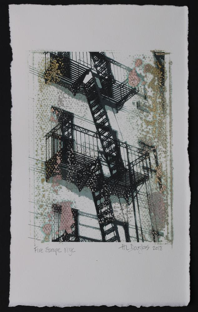 """Fire Escape NYC - M2"" original fine art by Heather Douglas"