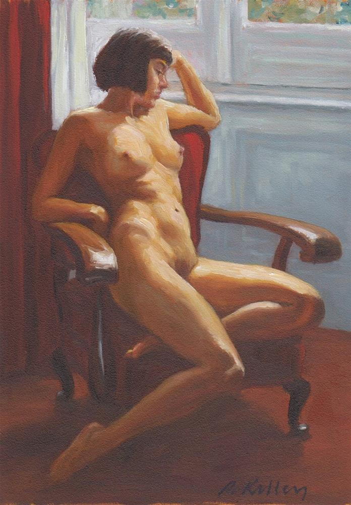 """""""Nude in a Red Chair"""" original fine art by Pat Kelley"""
