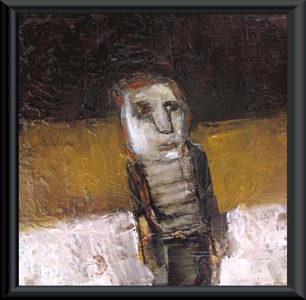 """A NIGHT OF SNOW Original ABSTRACT FIGURE PORTRAIT Art 4X4 Painting OIL"" original fine art by Colette Davis"