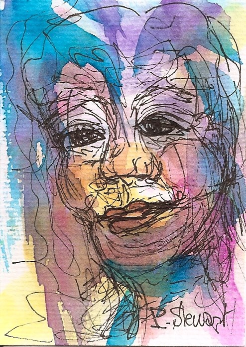 """""""ACEO Wrinkled and Old Watercolor and pen line drawing with colorful accents"""" original fine art by Penny Lee StewArt"""