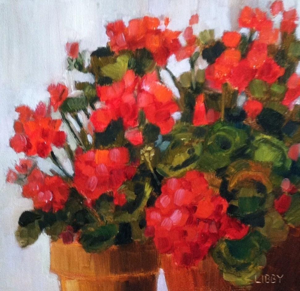 """Two Geranium Pots"" original fine art by Libby Anderson"