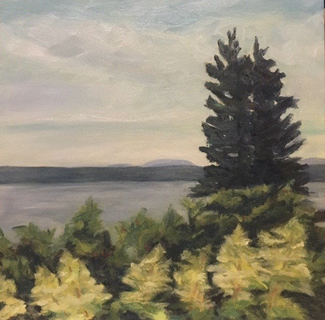 """Frenchman's Bay from Lamoine Porch"" original fine art by Karen Collins"