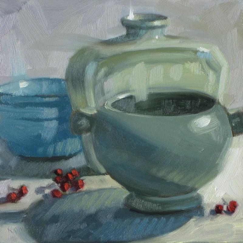 """Blues n greens  6x6 oil"" original fine art by Claudia Hammer"