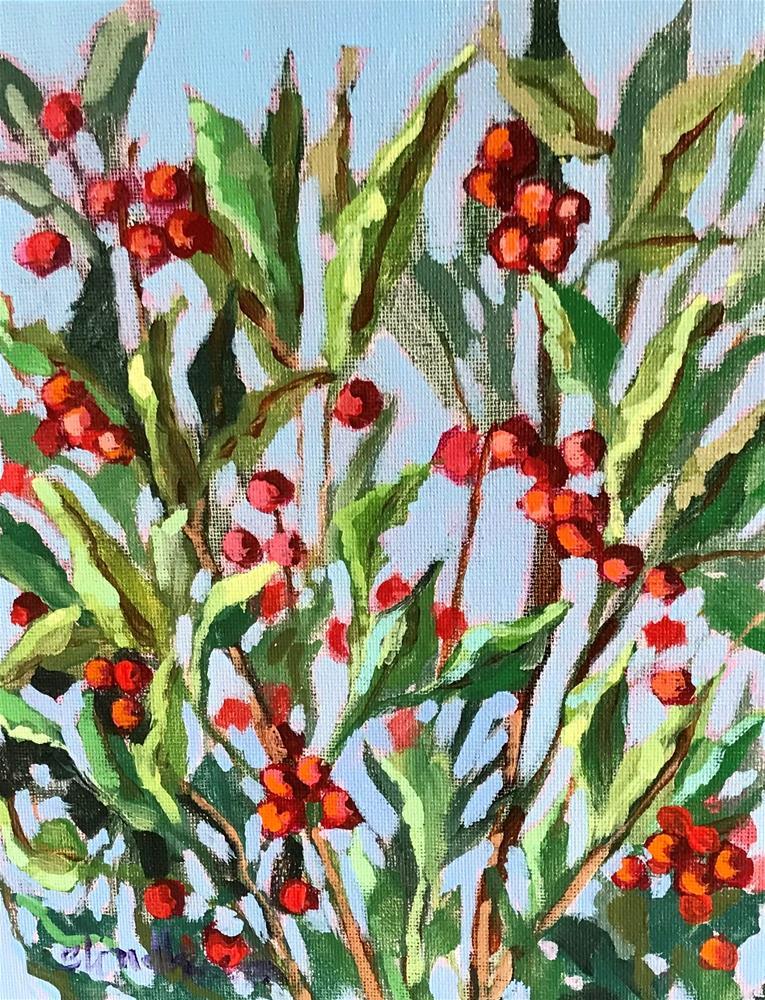 """Red Berries"" original fine art by Linda Blondheim"