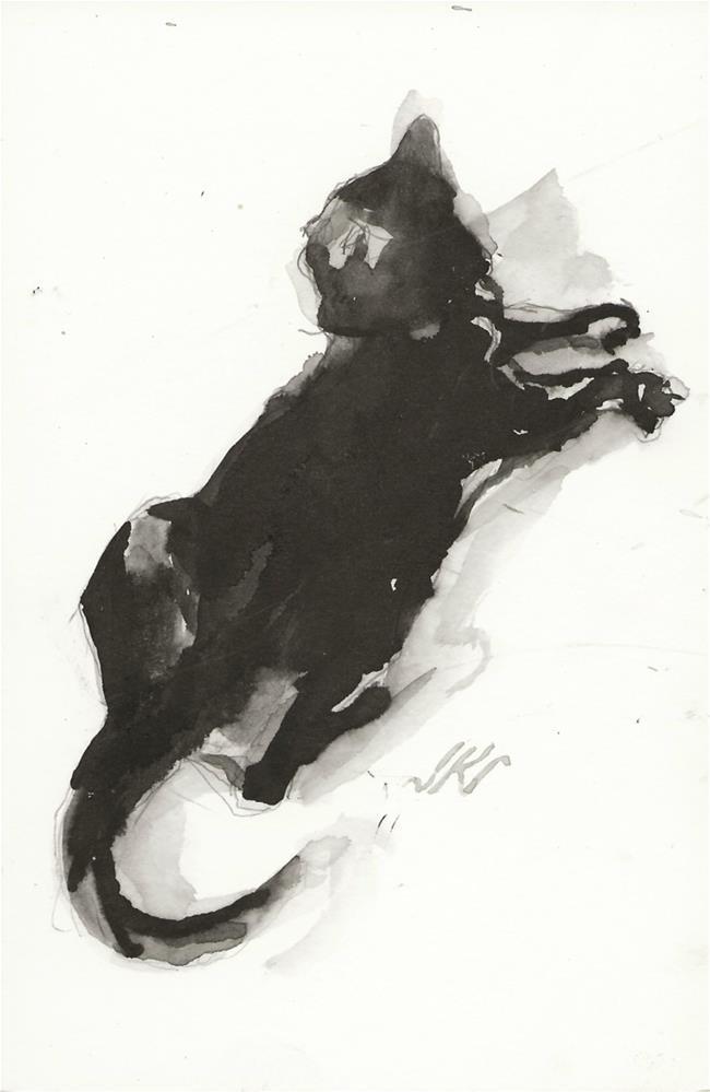 """Daily Cat 142"" original fine art by Jean Krueger"