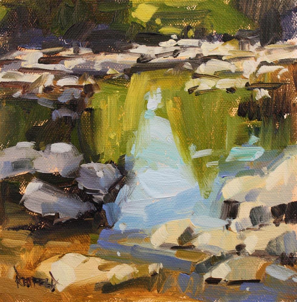 """Sunny Day River Rocks Reflection"" original fine art by Cathleen Rehfeld"