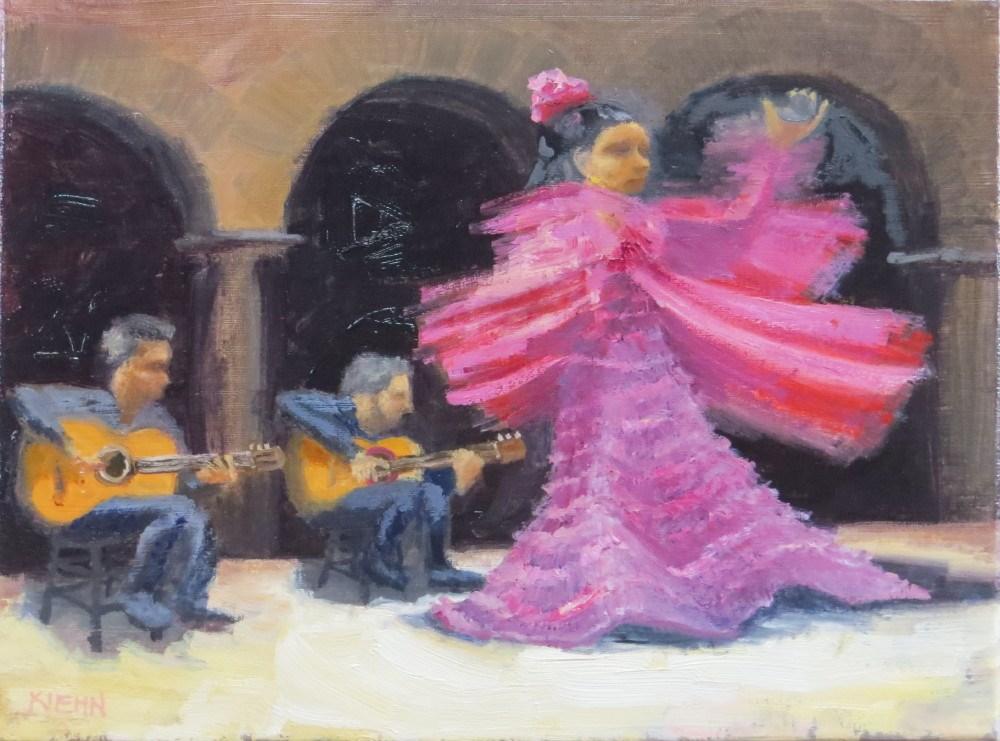 """Swirling Flamenco Dancer"" original fine art by Richard Kiehn"