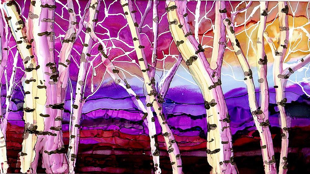 """Pink Birches"" original fine art by Kristen Dukat"