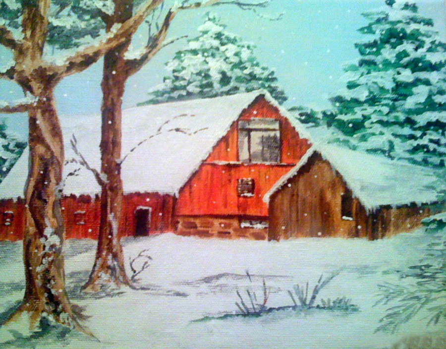 """Winter Barn"" original fine art by Nan Johnson"