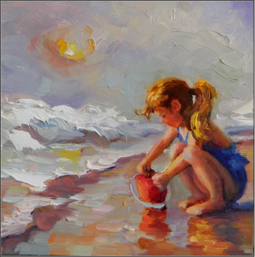 """Hazy Beach Day, 6x6, oil on board, Maryanne Jacobsen, beach paintings, hazy day, little girls at t"" original fine art by Maryanne Jacobsen"