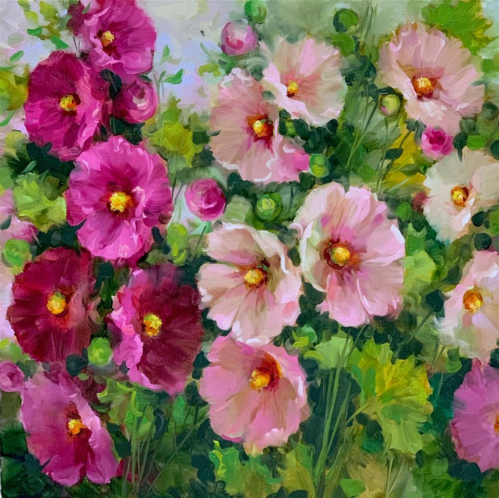 """Pink Lady Hollyhocks"" original fine art by Nancy Medina"