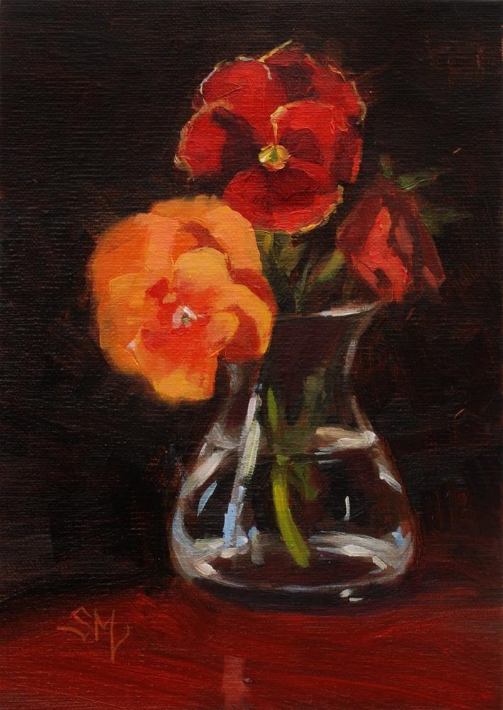 """No. 480 Pansies Pose"" original fine art by Susan McManamen"