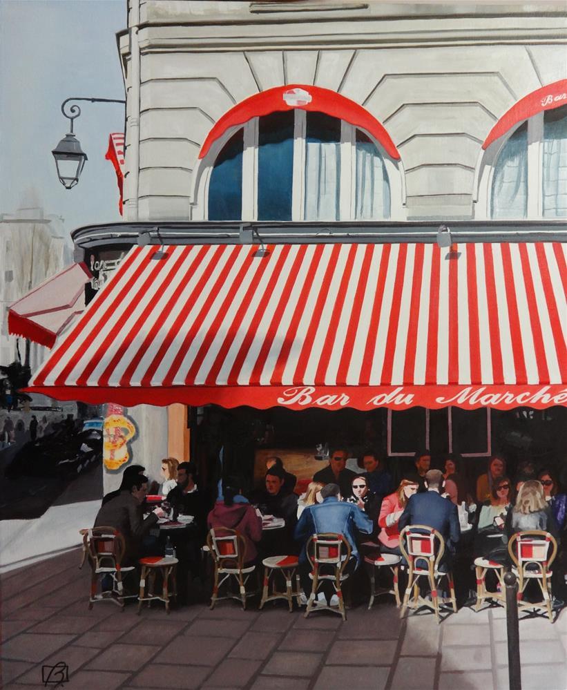"""""""Café Bar du Marché"""" original fine art by Andre Beaulieu"""