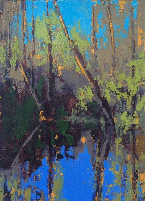 """Cedar Creek, Winter Floods"" original fine art by Mary Gilkerson"