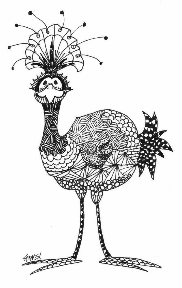 """""""Fancy Feathers, 5x7 Pen and Ink Drawing"""" original fine art by Carmen Beecher"""